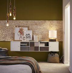 Chambre adulte design et déco au naturel, avec des plaquettes de parement en pierre naturelle au mur.  #chambre #cosy #plaquettedeparement #pierrenaturelle #mur #ideedeco #pierredeparement #moderne #bedroom #leroymerlin
