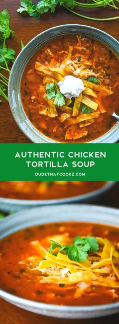 An authentic (and easy) Chicken Tortilla Soup recipe made with fresh ingredients, like onion and cilantro, and topped with crispy fried tortilla strips. #tortillasoup #chickentortillasoup #mexicansoup #souprecipes #easysoups #soup #mexicansoups