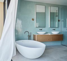 Bathroom Inspiration – A Palette Of Aqua Blue, White, Wood, And Grey