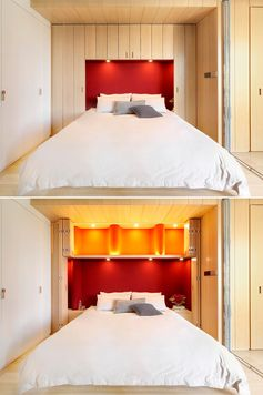 Storage is hidden within cabinets that surround this bed and the red headboard.