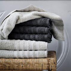Serviette de toilette coton éponge (sable ou anthracite) Broste : Decoclico