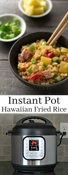 This Instant Pot Hawaiian Fried Rice is a delicious, easy recipe that's so much healthier than takeout. Great comfort food flavor in this gluten-free lunch or dinner! Recipe from realfoodrealdeals.com