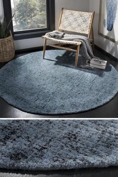 Round rugs in a modern farmhouse can help create a dedicated seating area for a small space that would otherwise go unused. Alternatively, they can also be used to in a nursery or bedroom. #ModernFarmhouse #RoundRug #HomeDecor #ModernFarmhouseRug