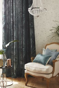 Rideau tamisant, Jungle, bleu/vert, l.140 x H.250 cm #leroymerlin #tendance #rideau #eden #ideedeco #madecoamoi