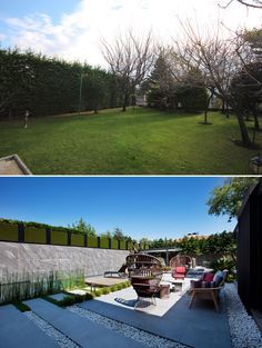 A modern yard renovation with a swimming pool, deck, and outdoor lounge.