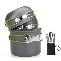 Aoduoer Camping Cookware Mess Kit Outdoor Cooking Equipment Cookset Camp Pot Pan Bowls - Free Folding Utensil Set, Me...