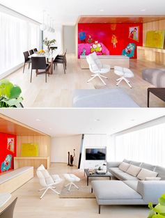A modern apartment with a bright red mural.