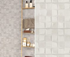 A 3-dimensional bathroom wall tile in beige.
