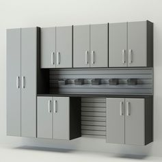 Flow Wall System Silver 7 Piece Silver Cabinet Set (FCS-9612-6S-7S)