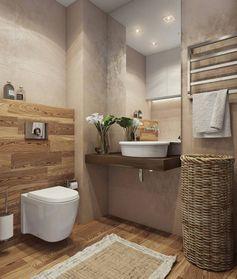 salle de bain très petite avec revetement en bois PVC aux nuances foncées et claires