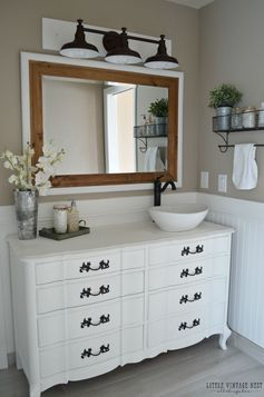 Farmhouse Bathroom Vanity and Farmhouse Light