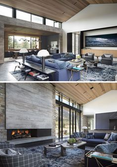Living Room Ideas - In this modern great room, there's high ceilings covered in wood, and a large living room that's focused on the fireplace. #LivingRoomIdeas #GreatRoomIdeas #ModernLivingROom #Windows #WoodCeiling