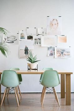 Scandinavian dining room decor with pastel colour scheme