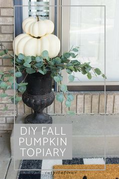 Looking for some easy DIY fall pumpkin decor? It only takes a few minutes to create this beautiful, fall pumpkin topiary for your home.