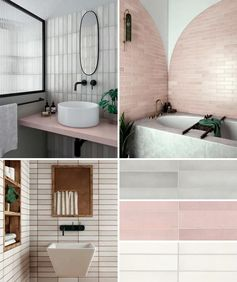 A collection of rectangular bathroom wall tiles ranging in color from cool grey, to a soft blush pink, and a natural white.