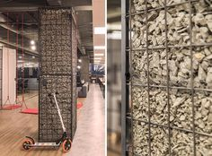 Gabions Hide The Plain Concrete Columns In This Office