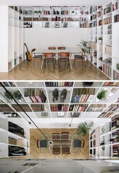 A Double-Height Bookshelf Travels Over Two Floors Of This House