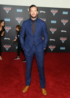 Actor Armie Hammer wears Burberry tailoring to celebrate the premiere of Cars 3 in Anaheim
