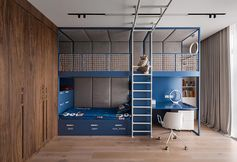 A modern kids bedroom with a custom-designed bed that includes a lofted play space and a homework station.