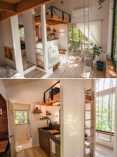 A small house with a white interior and wood accents.
