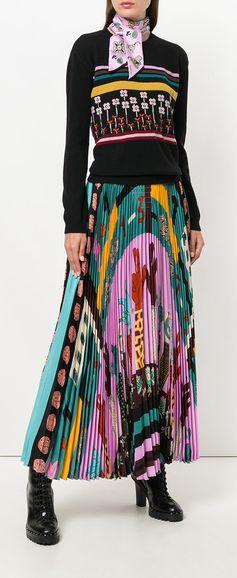 VALENTINO Counting 6 print pleated skirt, explore new season Valentino on Farfetch now.