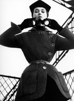 Dovima wears Dior by Richard Avedon, Eiffel Tower Paris - August 1950