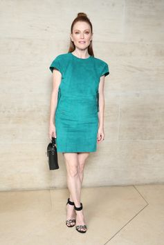 Julianne Moore wearing a dress from the Louis Vuitton Cruise 2018 Collection, attending the Louis Vuitton Spring-Summer 2018 Fashion Show at Musée du Louvre, Paris.
