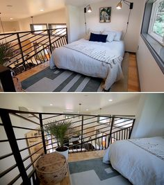 A loft bedroom in a tiny house with an artistic steel railing.