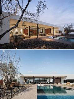 A modern desert house with a covered patio and a swimming pool.