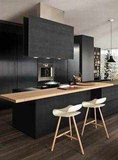 repeindre une cuisine en bois, repeindre meuble de cuisine gris noir