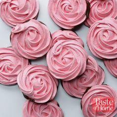 Chocolate-Dipped Meringue Roses