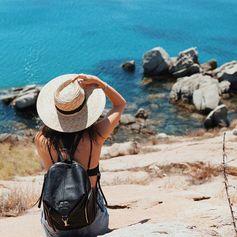 Stylish wanderer Louise Roe wearing her Folli Follie backpack (July 2016).