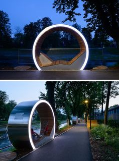 The Time Circles line the river in Cieszyn, Poland, and provide a place to relax and enjoy the view. They also act as an outdoor museum, with attached plaques allowing people to learn about the history of the area. #PublicSeating #OutdoorSeating #Design #PublicFurniture