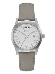 Silver-Tone and Leather Watch