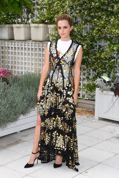 """Emma Watson wearing  a look from the Louis Vuitton Cruise 2018 Collection to """"The Circle"""" Photocall in Paris"""