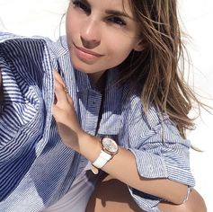 """""""Stripes fever"""" with Patricia Peristeri! The maritime look never goes out of style. Especially when you combine it with an elegant & timeless watch (July 2016)."""