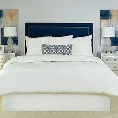 Navy Upholstered Headboard, Transitional, bedroom, EJ Interiors