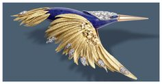 "Flying hummingbird clip  Béatrice de Plinval and Pierre Sterlé for Chaumet, 1977  Brushed gold, diamonds and lapis lazuli   Chaumet Paris  - Discover the unprecedented Chaumet exhibition, ""Imperial Splendours"", at the Palace Museum of Beijing."