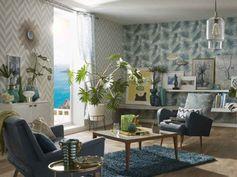7 astuces pour adopter la tendance Riviera #tendance #graphique #salon #lustre #papierpeint #rideaux #miroir #ideedeco #madecoamoi