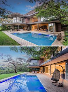 Large sliding glass doors open the main floor of this modern house to the yard, swimming pool and its surrounding deck. #SwimmingPool #ModernHouse #Deck #OutdoorLivingRoom