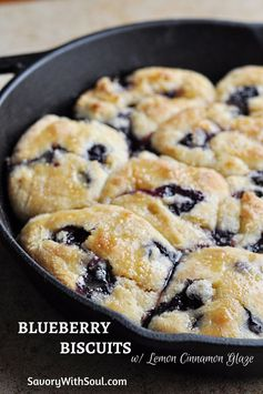 Blueberry Biscuits with Lemon Cinnamon Glaze - Savory With Soul