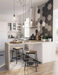 Une cuisine aux touches de gris avec bar