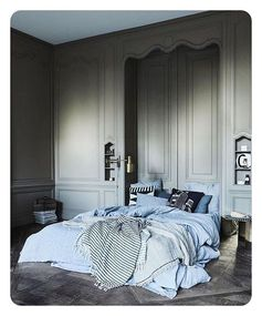 | D r e a m y | @vtwonen styling: @cleoscheulderman : #jeroenvanderspek #dreamy #bedroom #amsterdam #apartment #linen #bed #grey #walls #blue #interior #homedesign #inredning #instagood #inspiration #vtwonen