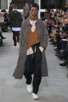 A look from the Louis Vuitton Men's Fall-Winter 2017 Fashion Show by Kim Jones, presented in the Palais Royal in Paris, France.