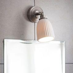 Applique murale de salle de bains en céramique blanc et métal Alma