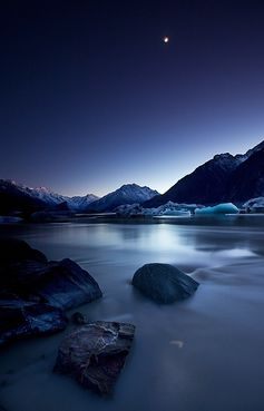 Moonlight, Mount Cook, New Zealand, by Yan Zhang Photograph, on flickr.