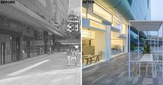 Before & After – A Tea Shop With A Unique Facade Makes Use Of A Wide Sidewalk For Extra Seating