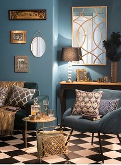 Home Decoration Ideas: Blue and gold and glamourous art nouveau patterns. (Milord collection from Maison du Monde)