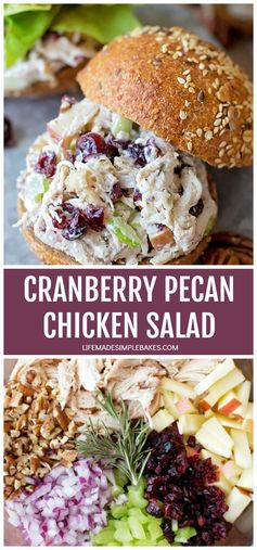 Sweet cranberries, toasted pecans, dijon mustard, and greek yogurt are the secret ingredients that make this chicken salad a fall favorite! Its perfect for special occasions, lunch, or even dinner! #chickensalad #homemadechickensalad #deliciouschickensalad