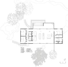The floor plan for a modern single story house with three bedrooms.